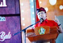 Gubernur dalam acara simakrama dan Dharma Shanti Nyepi Kabupaten Tabanan di Gedung Ketut Maria, Tabanan, Minggu (24/3) siang.