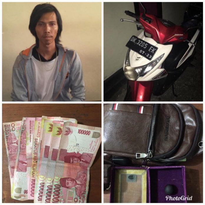 Pelaku hipnotis terhadap Jero Mangku I Made Nyantug beserta barang bukti yang berhasil diamankan petugas