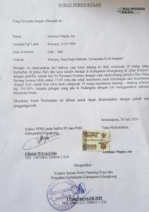 PPNS di Sat Pol PP dan Damkar menuangkannya ke dalam surat pernyataan bermaterai Rp. 6000