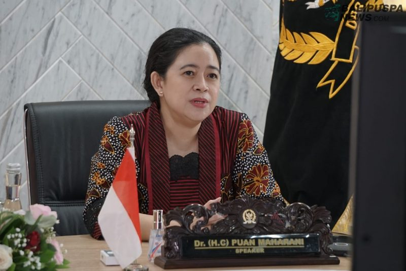 Ket foto : Ketua DPR RI Puan Maharani di acara Inter-Parliamentary Union 5th World Conference of Speakers of Parliament yang berlangsung secara virtual, Kamis (20/8/2020).