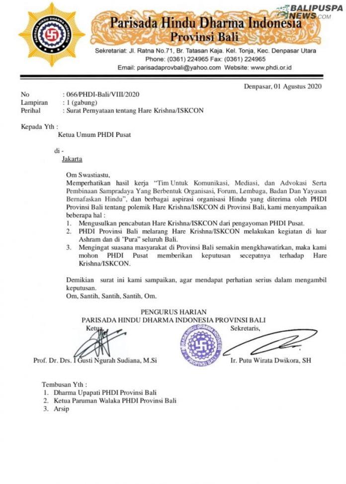 Surat PHDI Bali yang disampaikan pada PHDI Pusat terkait polemik Hare Krishna atau ISKCON