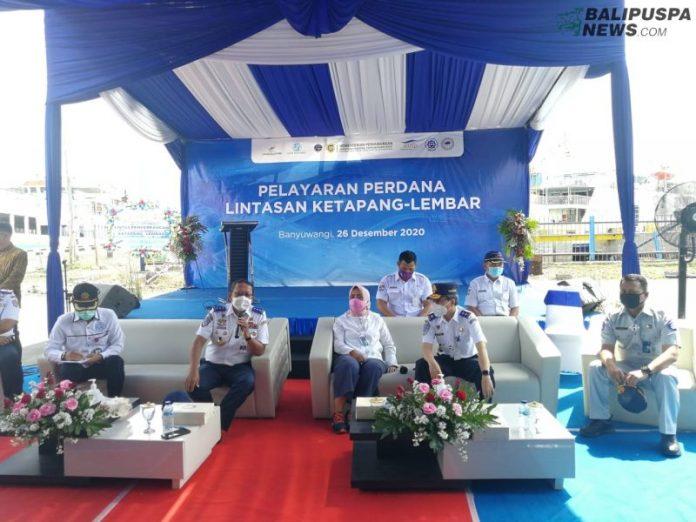 Peresmian Pelayaran Perdana Lintas Penyeberangan Ketapang-Lembar, di Pelabuhan Ketapang, Sabtu (26/12)