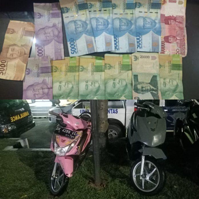 Dua buah kendaraan dan barang bukti uang tunai yang diduga dipakai balapan liar berhasil diamankan jajaran Mapolres Buleleng