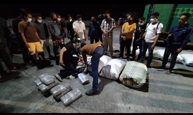 Puluhan kilogram ganja kering yang berhasil diamankan petugas Badan Narkotika Nasional Provinsi (BNNP) Bali di Terminal Mengwi, Badung, pada Minggu dinihari sekitar pukul 02.00 WITA